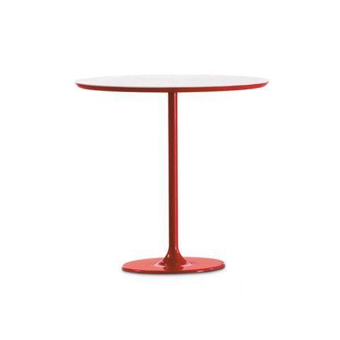 ARPER - TABLE DIZZIE 51X47 cm ovale hauteur 50 cm - Pied acier laqué Noir - Plateau MDF gaufré Blanc