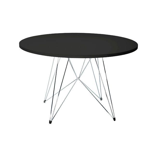 table ronde xz3- pied chromé  plato noir
