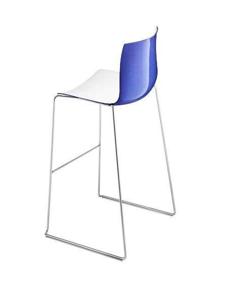 ARPER - TABOURET CATIFA 46 pied luge hauteur 76 cm coque bicolore - Intérieur Blanc extérieur Bleu primaire