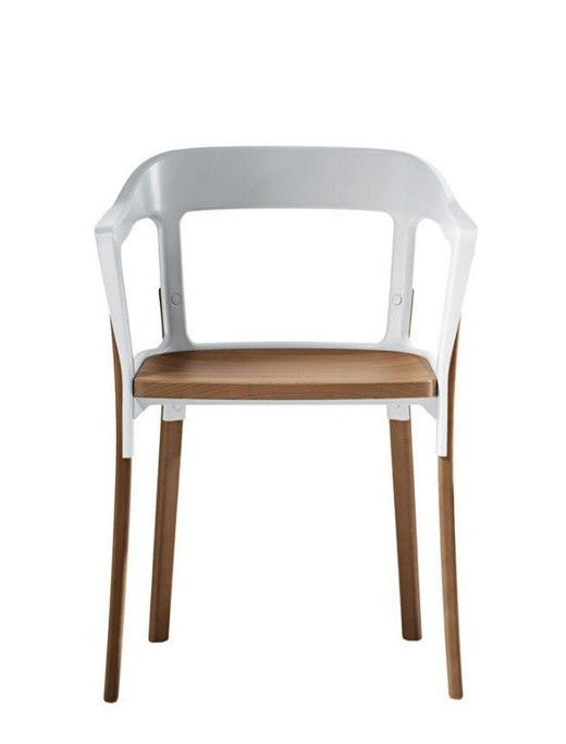 MAGIS - FAUTEUIL STEELWOOD CHAIR  - Blanc & hêtre