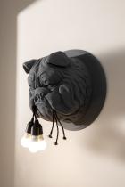 Applique tête de bulldog anthracite et noir.
