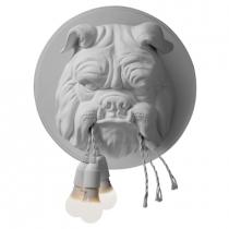 Applique en céramique en forme de tête de Bulldog.