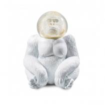 Boule à neige décorative en paillettes doré avec une forme de Gorille blanc.