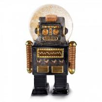 Robot avec une forme de boule à neige de couleur noir.