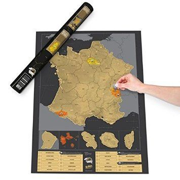 CARTE DE FRANCE A GRATTER NOIR - Gm