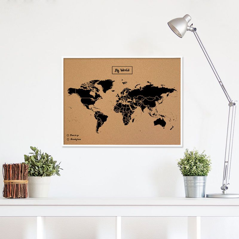 carte du monde en liege avec cadre. Black Bedroom Furniture Sets. Home Design Ideas