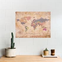 Carte du monde en liège effet old school, vintage.