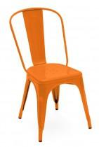 Chaise type industriel coloris potiron brillant.