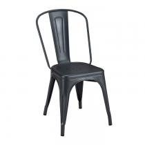 Chaise en acier dans un coloris gris graphite de la marque Tolix