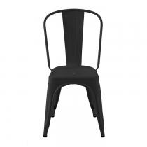 Chaise en acier laqué mat de design industriel. Le coloris est noir.