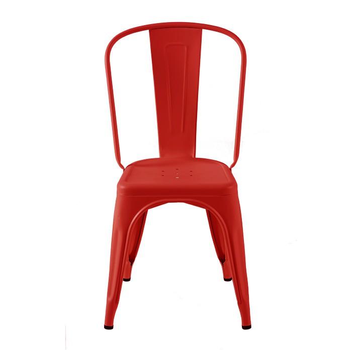 Cette chaise Tolix est le model A. Présenté ici dans un rouge piment mat très profond.