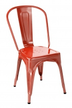 Chaise vintage Tolix model A avec un coloris orange poivron brillant.
