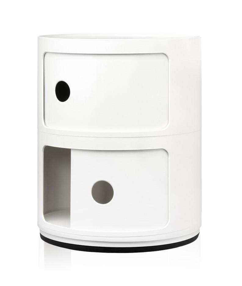 Meuble classique et sombre en cylindre blanc brillant avec deux étage. Il peut être utilisé comme tabouret si besoin ou de table d'appoint.