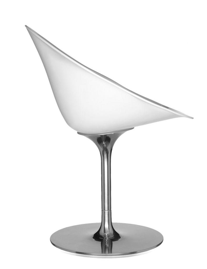 Fauteuil Eros - Pied tulipe - Kartell - Blanc brillant