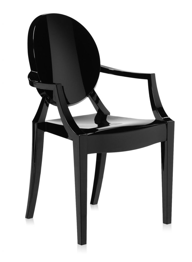 Lot de 2 fauteuils Louis Ghost - Kartell - Noir brillant