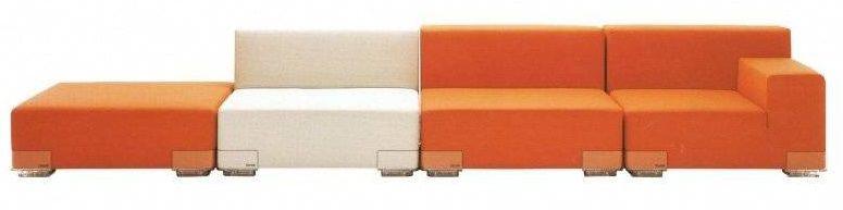 FAUTEUIL PLASTICS - Accoudoir gauche - Orange