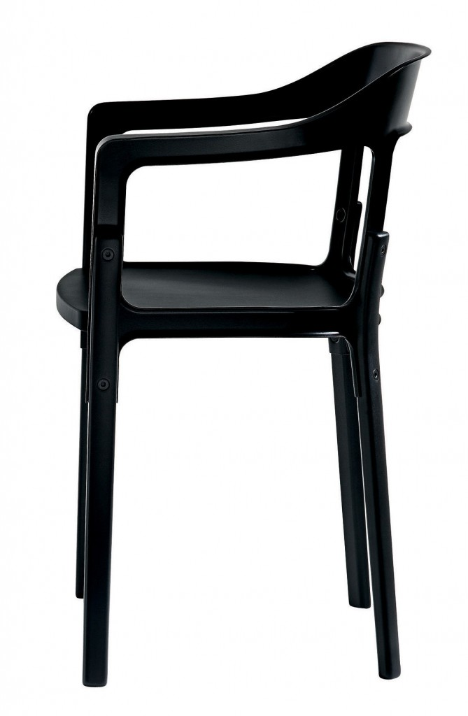 FAUTEUIL STEELWOOD CHAIR  - Rouge