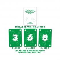 Découvrez des cartes du jeu Pour Combien. Il suffit de lire une action insolite et de la faire deviner à tes amis pour combien tu serais capable de le faire !