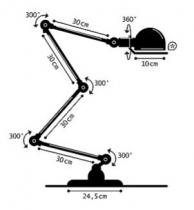 LAMPE A POSER SIGNAL 4 BRAS - Acier brossé