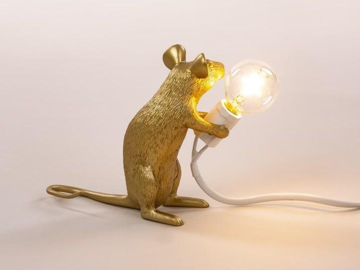 Lampe Mouse - Souris assise doré - Seletti