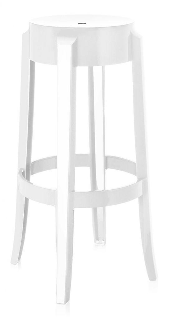 LOT DE 2 TABOURETS CHARLES GHOST h75cm - Blanc brillant