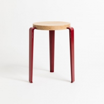 Lou Stool Oak - Crimson red - Tiptoe