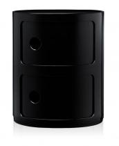 Petit mobilier de angement noir brillant avec 2-tiroirs de hauteur 40 cm.