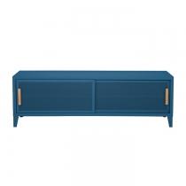 Meuble TV Tolix made in France. Un meuble de télévision design style industriel marqué. Le B2 bas Tolix vous est présenté en Bleu océan
