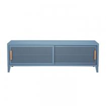 Meuble TV Tolix made in France. Un meuble de télévision design style industriel marqué. Le B2 bas Tolix vous est présenté en bleu provence.