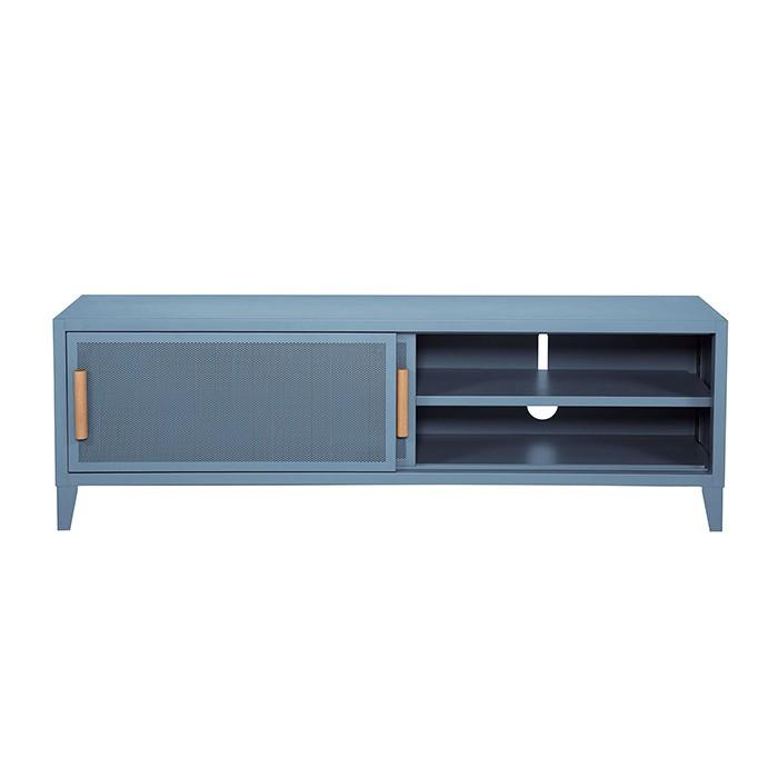 Meuble TV Tolix made in France. Un meuble de télévision design style industriel marqué. Le B2 bas Tolix vous est présenté en Bleu pastel