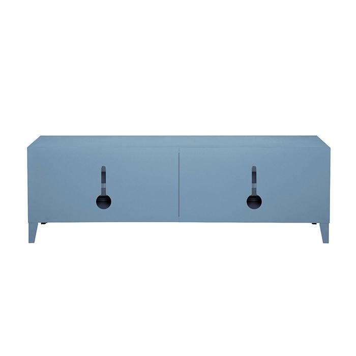 Meuble TV Tolix made in France. Un meuble de télévision design style industriel marqué. Ici est présenté le système de passe câbles du meuble.