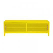 Meuble TV Tolix made in France. Un meuble de télévision design style industriel marqué. Le B2 bas Tolix vous est présenté en citron vert