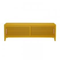 Meuble TV Tolix made in France. Un meuble de télévision design style industriel marqué. Le B2 bas Tolix vous est présenté en moutarde