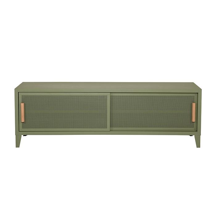 Meuble TV Tolix made in France. Un meuble de télévision design style industriel marqué. Le B2 bas Tolix vous est présenté en vert lichen