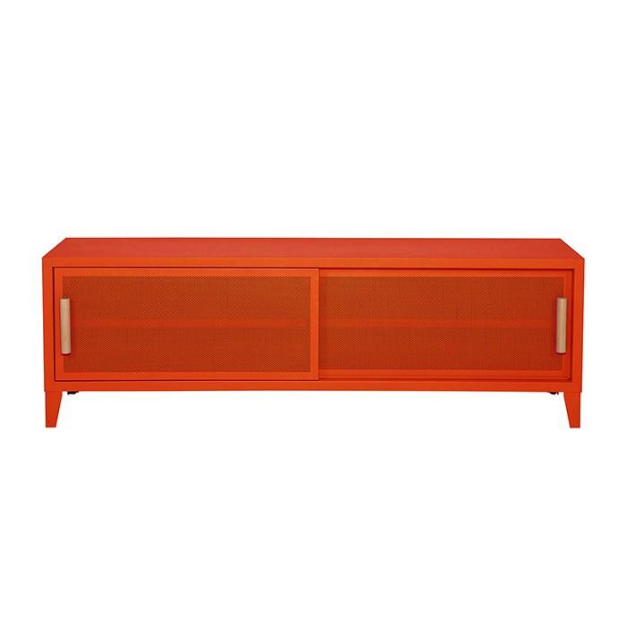 Meuble TV Tolix made in France. Un meuble de télévision design style industriel marqué. Le B2 bas Tolix vous est présenté en poivron