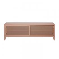 Meuble TV Tolix made in France. Un meuble de télévision design style industriel marqué. Le B2 bas Tolix vous est présenté en rose fumé