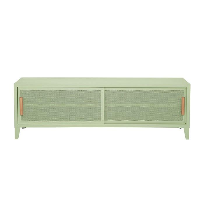 Meuble TV Tolix made in France. Un meuble de télévision design style industriel marqué. Le B2 bas Tolix vous est présenté en vert anis