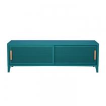 Meuble TV Tolix made in France. Un meuble de télévision design style industriel marqué. Le B2 bas Tolix vous est présenté en vert canard