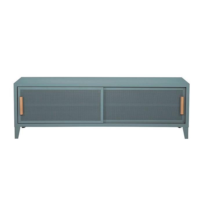 Meuble TV Tolix made in France. Un meuble de télévision design style industriel marqué. Le B2 bas Tolix vous est présenté en bleu lichen