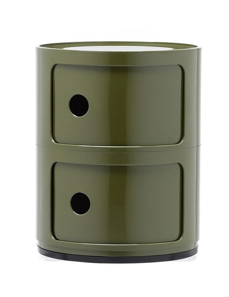 Rangement componili 2 tiroirs Vert olive Kartell. Retrouvez une super position de 2 éléments aux multiples usages.