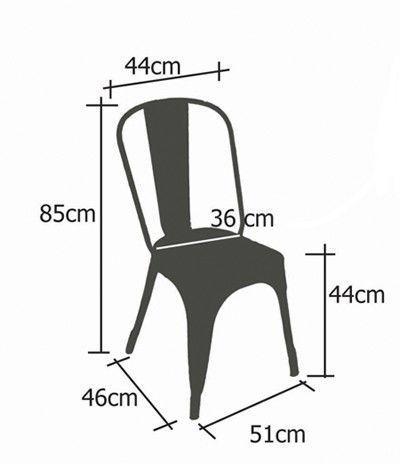 Plan des mensurations de la chaise A de chez Tolix