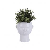 Pot à fleurs masque rond blanc - Present Time