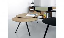 Table basse Mr HYDE 2-  l66 x L109 x ht 40.5 - Plateau Fenix gris L08 - Pieds acier C08 noir