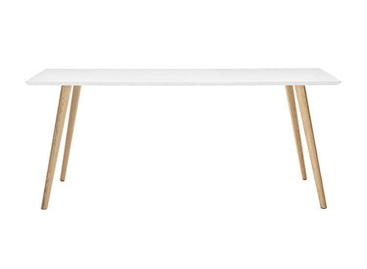 TABLE GHER 180 X 90 CM - Pieds chêne naturel, plateau blanc