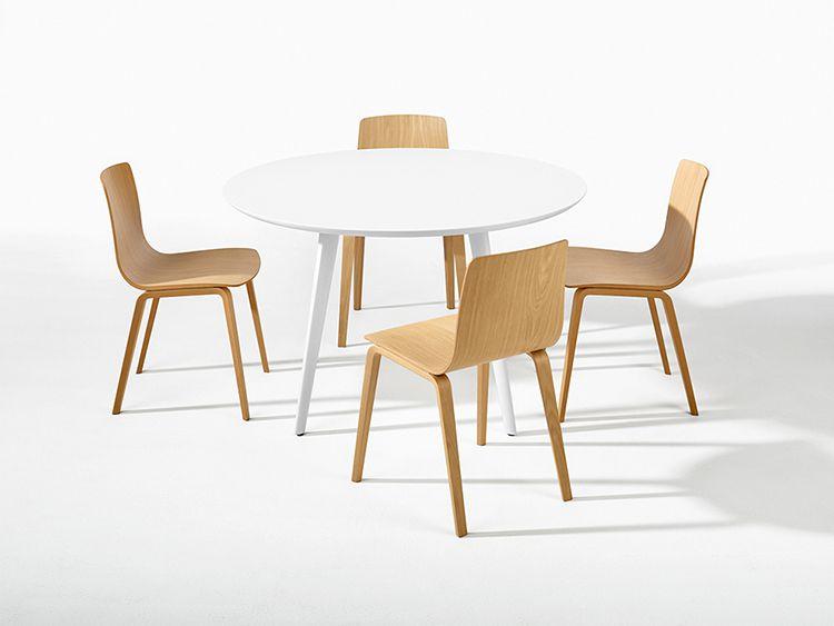 TABLE GHER Ø 120 CM - Pieds blanc - Plateau blanc