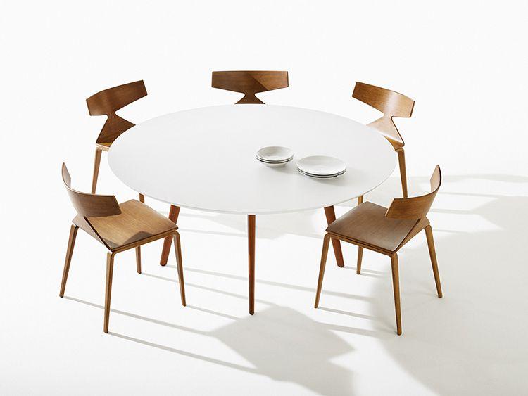 TABLE GHER Ø160 CM - Pied teck - Plateau blanc
