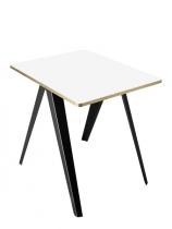 TABLE TOP SAMBA - Pieds noir / plateau blanc-flanc or