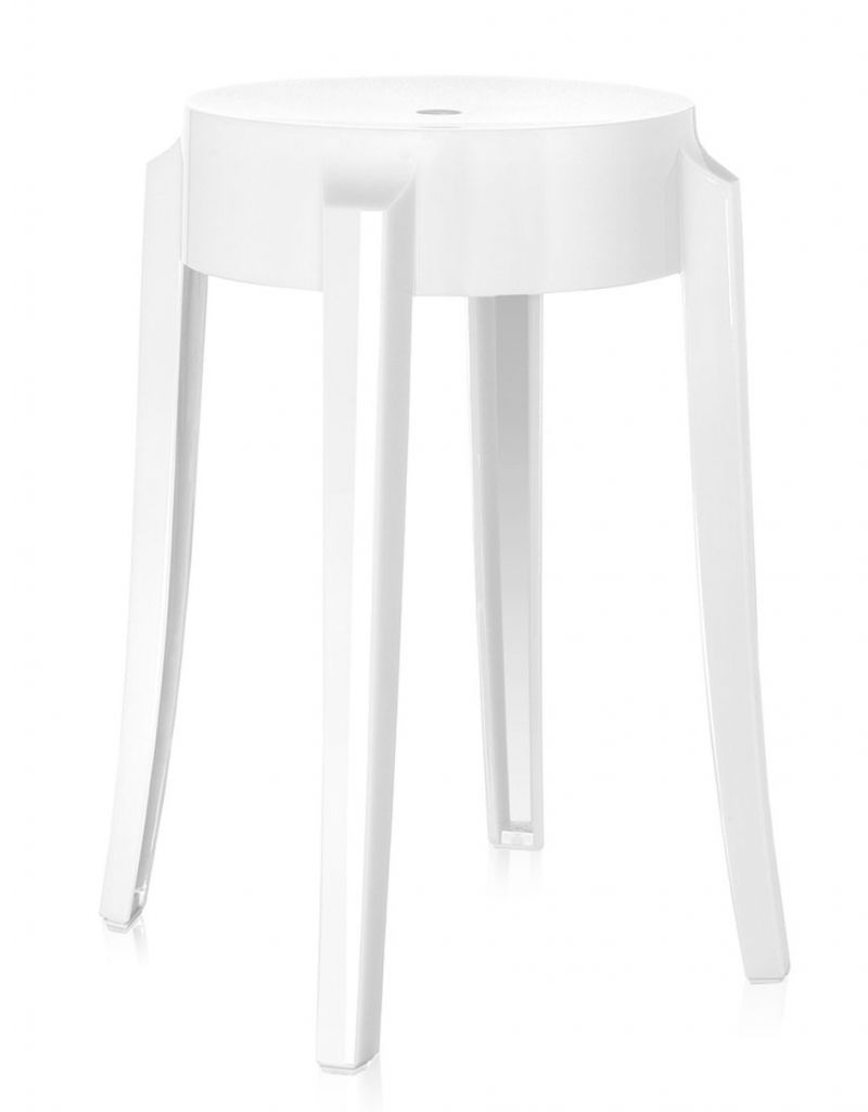 Lot de 2 tabourets Charles Ghost H46 - Kartell - Blanc brillant