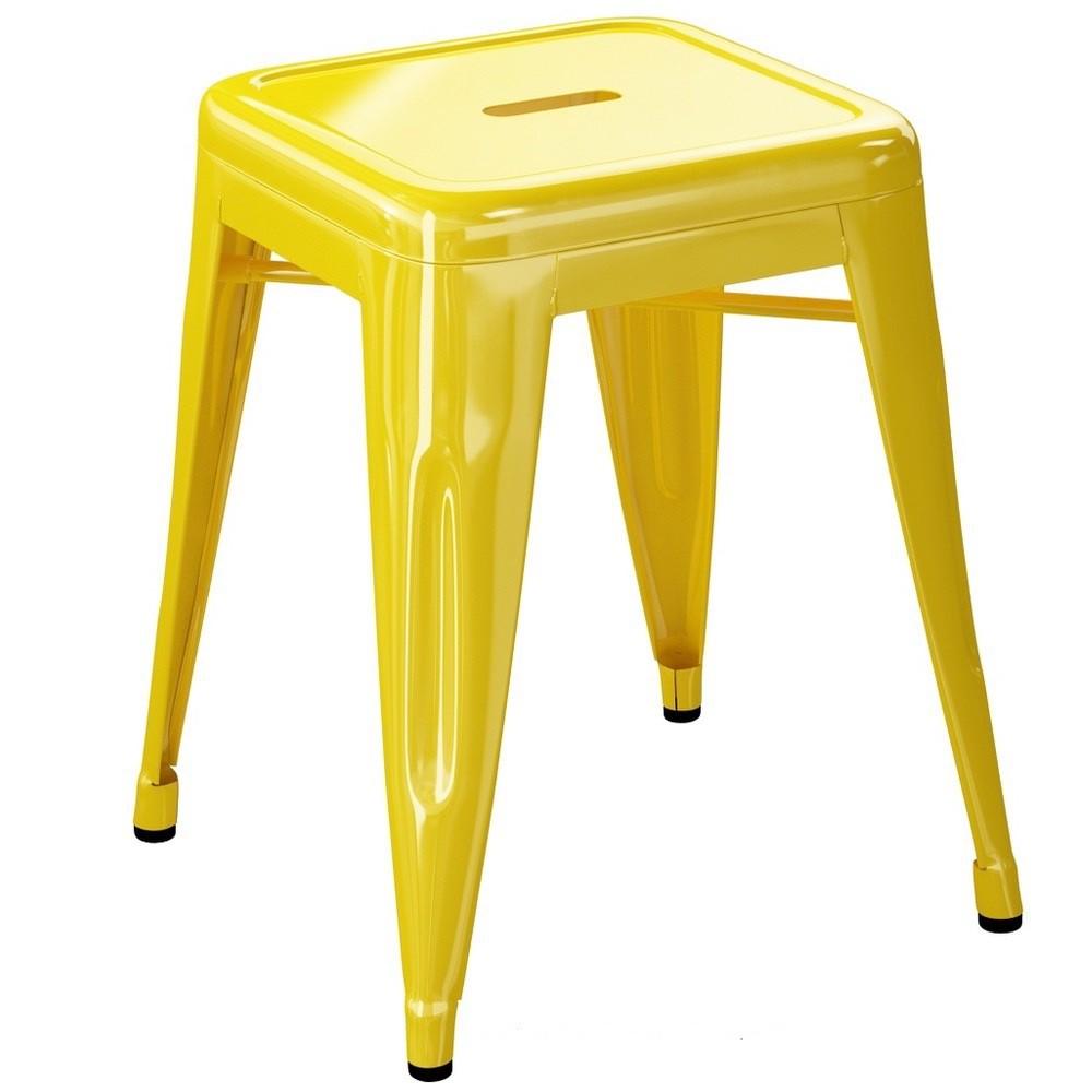 Tabouret H45 - Brillant - Tolix - Jaune citron