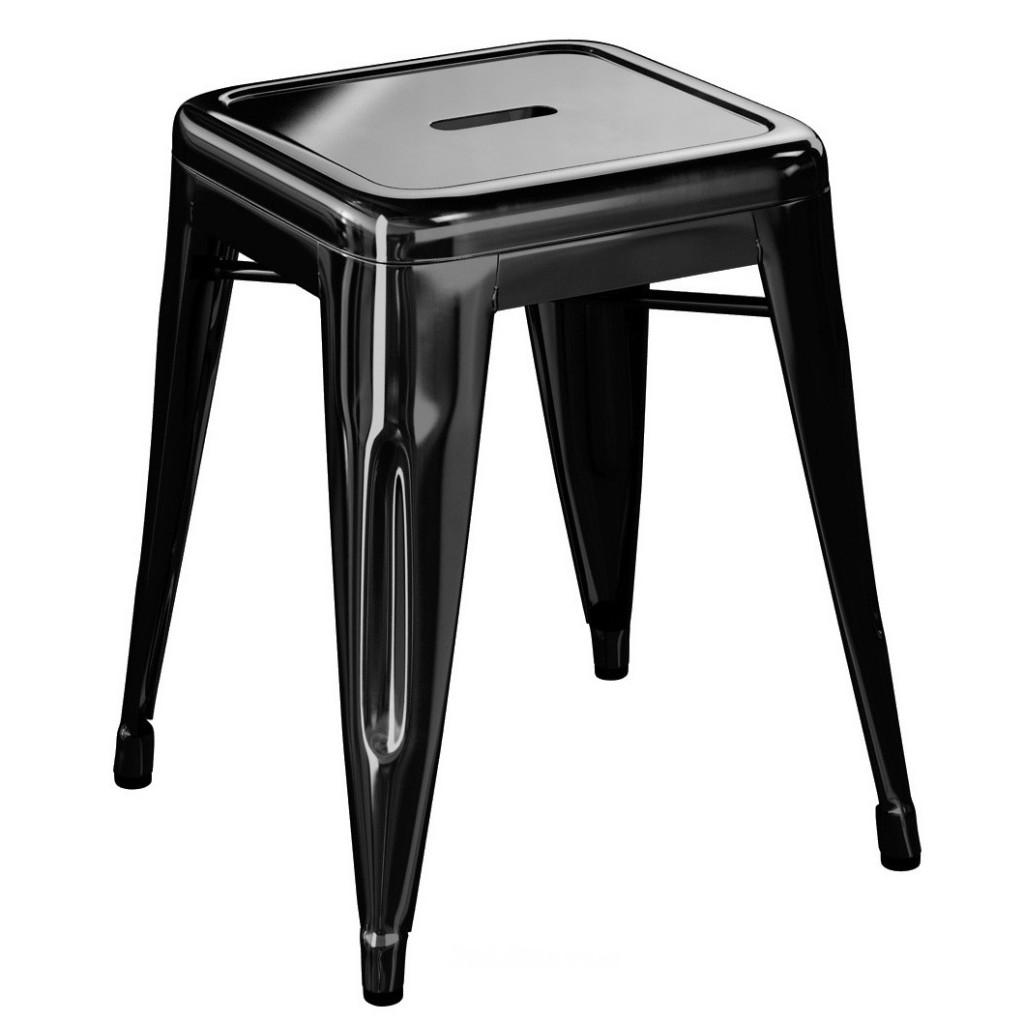 Tabouret H45 - Brillant - Tolix - Noir